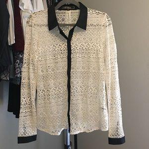 Love Stitch Button Down Lace Shirt